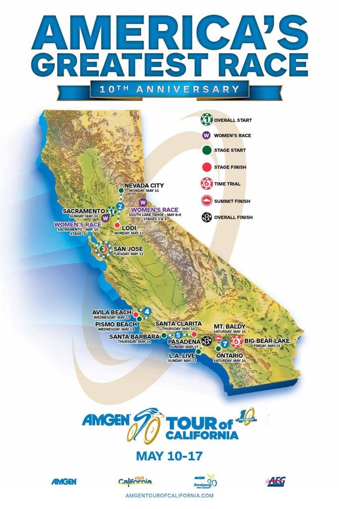 AMGEN Tour of California 2015 etap haritası
