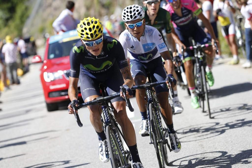 25 July 2015 102nd Tour de France Stage 20 : Modane Valfrejus - Alpe d'Huez ANACONA Winner Andrew (COL) Movistar QUINTANA Nairo Alexander (COL) Movistar, Maillot Blanc, at Alpe d'Huez Photo : Yuzuru SUNADA
