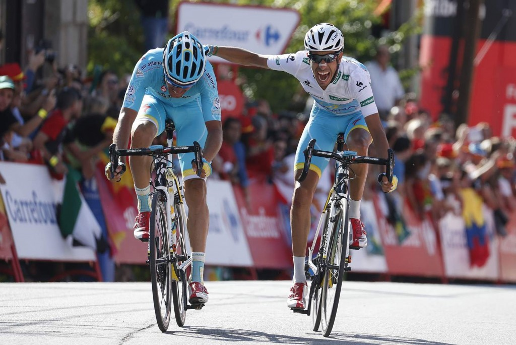 12 September 2015 70th Vuelta a Espana Stage 20 : San Lorenzo de El Escorial - Cercedilla ARU Fabio (ITA) Astana SANCHEZ Luis Leon (ESP) Astana Photo : Yuzuru SUNADA