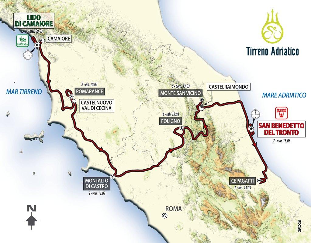 Tirreno-Adriatico 2016 rotası: iki deniz tek ülke!