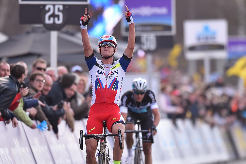 Cycling: 99th Tour of Flanders 2015 Arrival / KRISTOFF Alexander (NOR) Celebration Joie Vreugde / TERPSTRA Niki (NED) Deception Teleurstelling / Brugge - Oudenaarde (264Km)/ Ronde van Vlaanderen Tour of Flanders RVV / © Tim De Waele