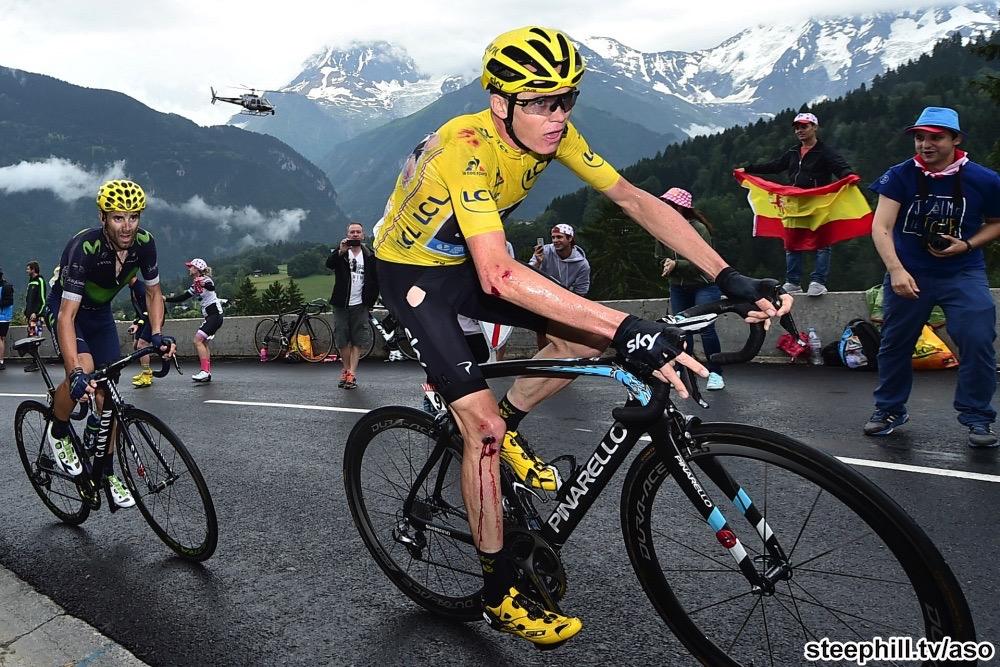 Tour de France 2016 - 22/07/2016 - Etape 19 - Albertville / Saint-Gervais Mont Blanc (146 km) - FROOME Christopher (TEAM SKY) - Le Maillot Jaune a glisse dans un virage